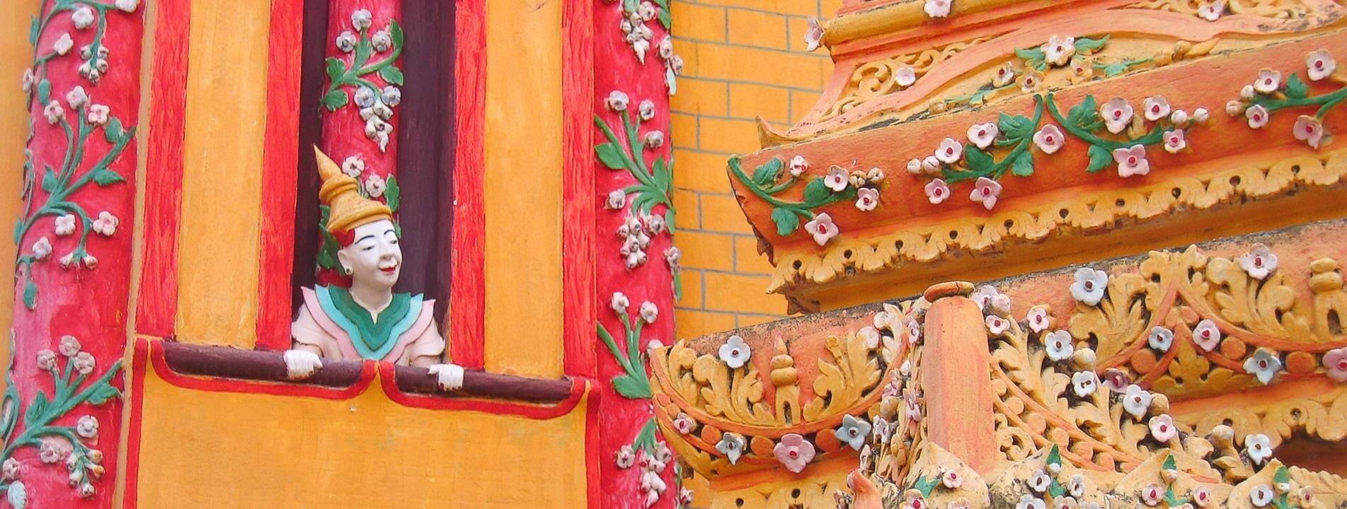 Brightly-colored Thanboddhay Pagoda in Monywa