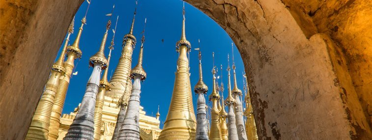 Pagodas of Indien Pagoda Complex in Inle Lake