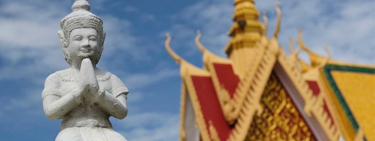 A celestial sculpture at the roof of the Royal Palace of Phnom Penh
