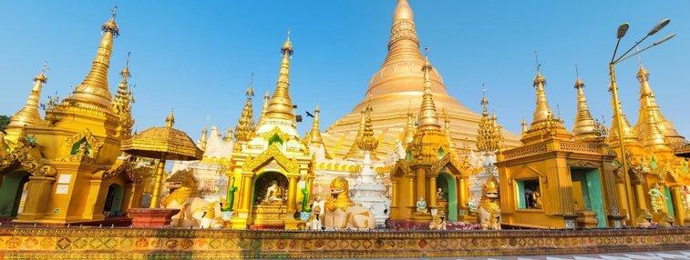 Major worship center Shwedagon Pagoda in Yangon