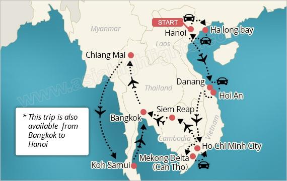 Southeast Asia Tour Map