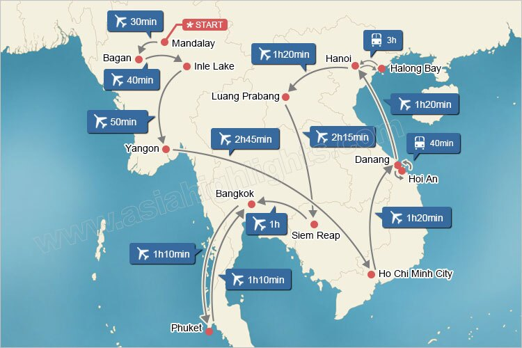 Map of Grand Indochina Tour