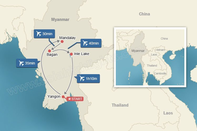 Map of Myanmar Highlights Tour