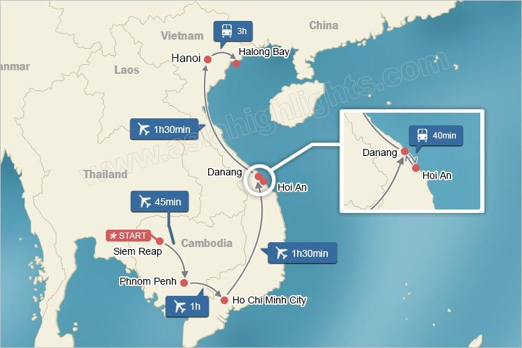 Map of Cambodia and Vietnam Highlights Tour