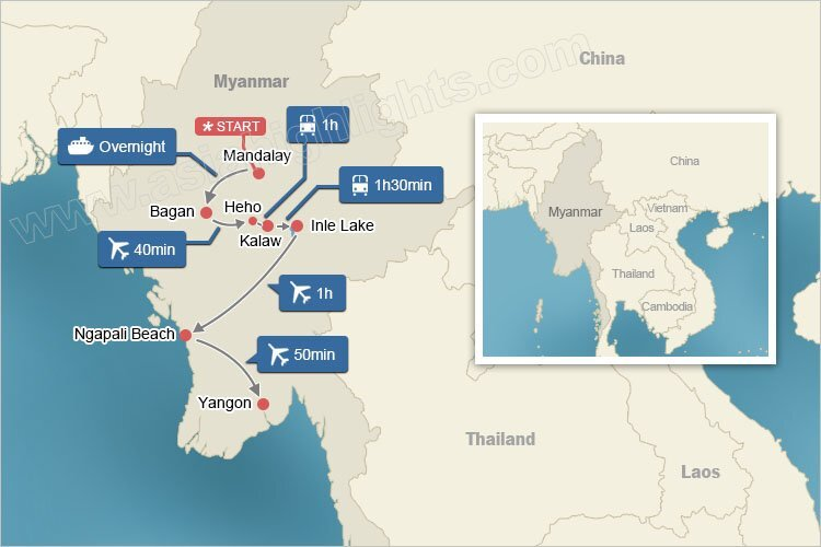 Map of Myanmar Tour in Depth with Irrawaddy Cruise