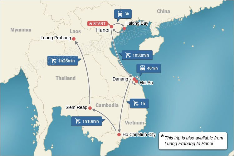 Map of Vietnam Cambodia and Laos Highlights Tour