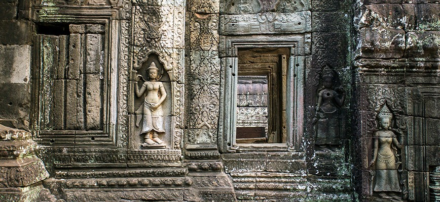 The Stone Carvings on the Wall of Angkor Ta Prohm Temple