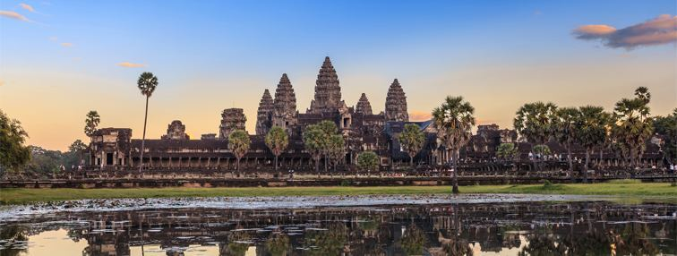 Majestic view of Angkor Wat at sunrise
