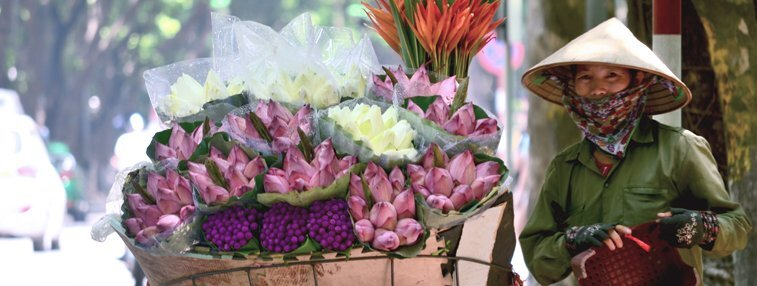 a flower vendor waiting for business in hanoi