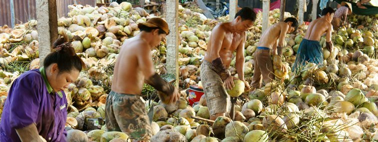 workers at a local coconut candy factory