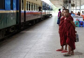 Little Monks at Train Station
